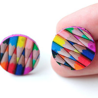 colored pencils Stud / Post  Earrings, Colorful Rainbow , Gift for her under 15