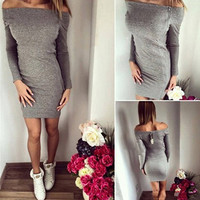 2017 Autumn Sexy Ladies Off Shoulder Long Sleeved Slash Neck Party Cocktail Mini Dress With Front Zipper LX193
