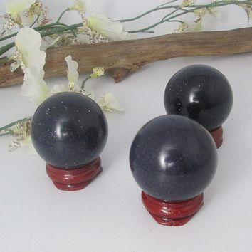 """Uplifter"" Blue Goldstone Sphere & Stand"
