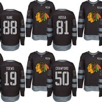 Men's 2 Duncan Keith 19 Jonathan Toews 72 Artemi Panarin 88 Patrick Kane Chicago Blackhawks Premier Black 1917-2017 100th Anniversary Jersey