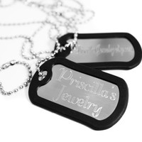 NOW ENGRAVED Stainless Steel Military Dog Tag Necklace, Personalized Name, Date, or Phrase, Custom Text Necklace