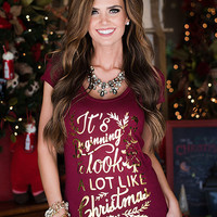Burgundy It's Beginning to Look a Lot Like Christmas Tee