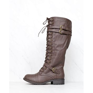 FINAL SALE - Tall Lace Up Combat Boots in Brown