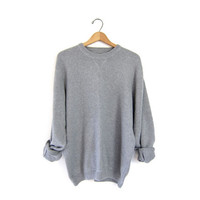 slouchy light gray sweater. oversized vintage 90s pullover sweater. cotton sweater. grey boyfriend sweater. preppy grunge knit pullover. XL