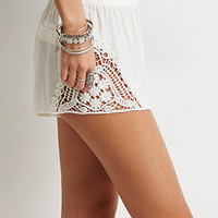 Crochet-Paneled Shorts