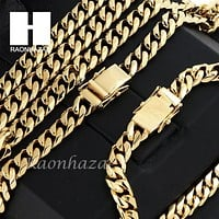 Stainless steel Gold Finish Heavy 10mm Miami Cuban Link Chain Necklace Bracelet3