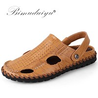 Soft Leather Beach Sandals for Men Handmade Closed Toe Classics Sandals Summer Casual Breathable Men Sewing Shoes