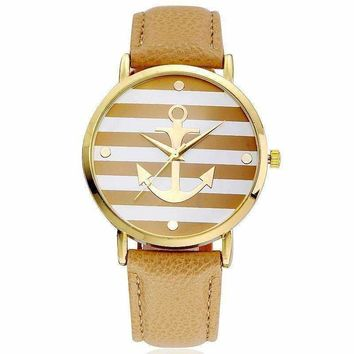 Ahoy! Anchor Watch in Caramel and White Stripes for Women