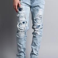 Distressed Double Layered Skinny Jeans
