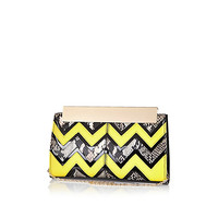 River Island Womens Lime zig zag frame top clutch bag
