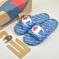 Champion Life Youth Slide Sandals Repeating Logo Blue - Best Online Sale