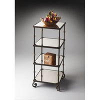 Metalworks Mirrored Glass Four Shelf Etagere Butler Specialty Company Free Standing Shelve