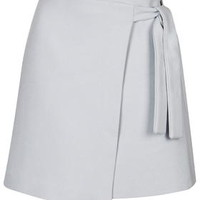 TALL EXCLUSIVE Wrap Mini Skirt - Pale Grey
