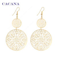 2016 new CACANA gold plated dangle long earrings for women classic pattern hollow round bijouterie hot sale No.A339 A340