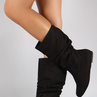 Soda Suede Slouchy Round Toe Mid Calf Flat Boots