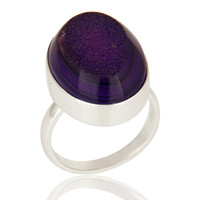 Oval Purple Drusy Agate 925 Sterling Silver Statement Ring