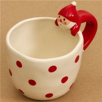cute polka dot Christmas cup with Santa Claus handle Decole - Cups-Mugs - Bento Boxes