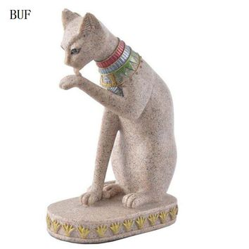 BUF Cat Statue Ornament Egypt Style Cute Cat Figurine Sculptures Resin Craft Home Decoration Accessories Ornaments