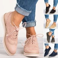 Women Casual Pointed Toe Brogues Oxfords Dress Stitched Lace Up Flats Shoes Size