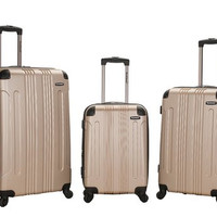 F190-CHAMPAGNE 3 Pc Sonic Abs Upright  Luggage Set
