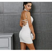 Marisole Crisscross Back Party Dress