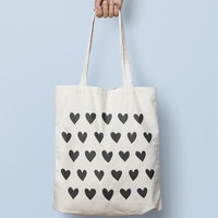 Heart Tote Bag Love, Hipster Tote Bag, Canvas Tote Bag, Printed Tote Bag, Market Bag, Cotton Tote, Large Canvas Tote, Funny geometric bag