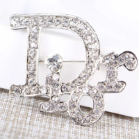 Dior New fashion rhinestone brooch more diamond letter accessories Silver