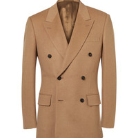 Kingsman - Sand Slim-Fit Double-Breasted Baby Camel Hair Blazer