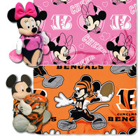 Cincinnati Bengals NFL Mickey and Minnie Mouse Throw Combo
