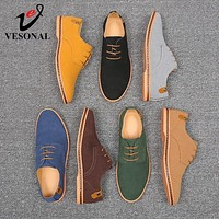VESONAL Brand 2019 Spring Autumn Suede Leather Men Shoes Oxford Casual Classic Sneakers For Male Comfortable Shoe Footwear 38-46