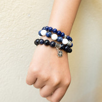 Set of 3 Blue and White Theme Bracelets Lapis Lazuri Sodalite Tridacna Silver Stone Gold Stone Natural Organic Rock Zodiac Stone Marine