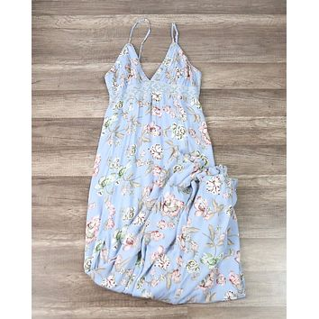 Open Back Floral Maxi in Sky Blue