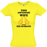 This awesome wife loves his husband ,gift ideas,humor tees,humor shirts,awesome tshirt,cotton shirt from TeeShirts24