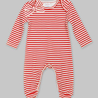 Red & Ivory Striped Romper with Bow