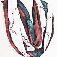Brown / Cream Elegance Embroidered Infinity Style Scarf, Gift For Her