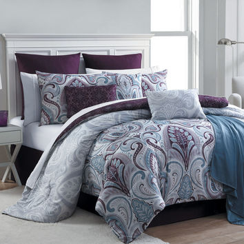 16 Piece Complete Comforter Bedding Set Bed in a Bag, Plum