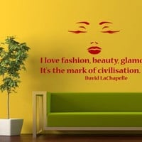 Housewares Vinyl Decal Model Make up Quote I Love Fashion Beauty Glamour Beauty Salon Woman Face Home Wall Art Decor Removable Stylish Sticker Mural Unique Design for Any Room