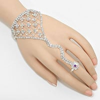 """Womens Body Jewelry, Color : Silver, Ab, Clear • Size : 4"""" H, 6"""" + 2"""" L, 3/4"""" D • Adjustable • Rhinestone Hand Chain"""