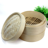 2 Tier Bamboo Steamer Set Kitchen Cookware with Lid for  Fish Rice Pasta Meat Dim Sum Basket Hot