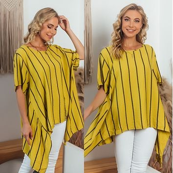 Fashion casual irregular women's striped short sleeves