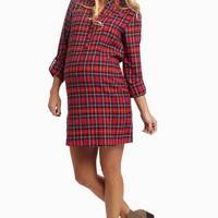 Red-Black-Plaid-Flannel-Maternity-Dress/Tunic