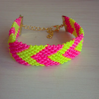 Neon Pink and Yellow Chevron Bracelet, Friendship Bracelet