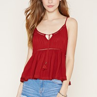 Tassel-Tie Pleated Top