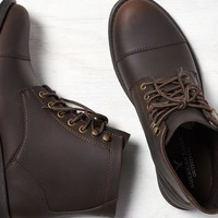 AEO 's Leather Cap Toe Boot (Dark Brown)