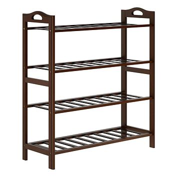 LANGRIA 4 Tier Bamboo Shoe Rack Natural Sustainable Shelf Storage Durable Damp-proof Organizer for Boots Heels Flowerpots, Holds Up to 12 pairs, Suitable for Living Room Bedroom Entryway (Espresso)