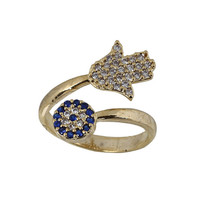 Hamsa and Evil Eye Ring Gold Plated Ring by MyEvilEyeJewelry