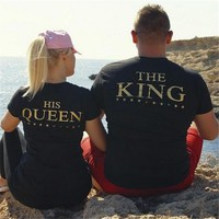"""The King"" ""His Queen"" Matching Couple Casual T-Shirts"