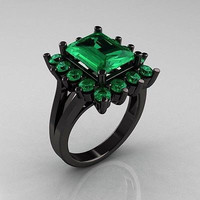 3.5ct Green emrald cut solitaire sterling silver wedding ring with free ship11