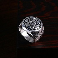 Stainless Steel 5 Star Pentagram Gothic Supernatural Ring