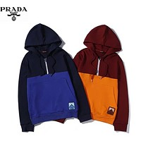 PRADA Autumn And Winter New Fashion Contrast Color Women Men Leisure Hooded Long Sleeve Sweater